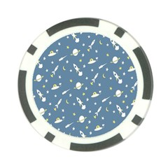 Space Saturn Star Moon Rocket Planet Meteor Poker Chip Card Guard