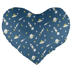 Space Saturn Star Moon Rocket Planet Meteor Large 19  Premium Flano Heart Shape Cushions by Jojostore