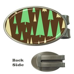 Spruce Tree Grey Green Brown Money Clips (oval)
