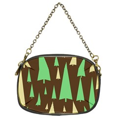 Spruce Tree Grey Green Brown Chain Purses (two Sides)  by Jojostore