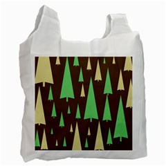 Spruce Tree Grey Green Brown Recycle Bag (two Side)  by Jojostore
