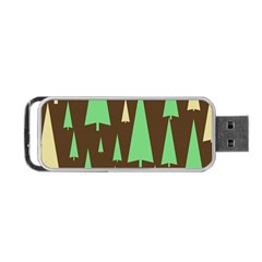 Spruce Tree Grey Green Brown Portable Usb Flash (two Sides)