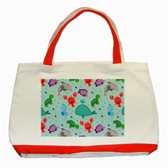 Turtle Crab Dolphin Whale Sea World Whale Water Blue Animals Classic Tote Bag (red) by Jojostore