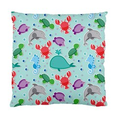 Turtle Crab Dolphin Whale Sea World Whale Water Blue Animals Standard Cushion Case (two Sides)