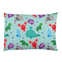 Turtle Crab Dolphin Whale Sea World Whale Water Blue Animals Pillow Case (two Sides)