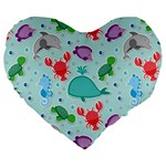 Turtle Crab Dolphin Whale Sea World Whale Water Blue Animals Large 19  Premium Heart Shape Cushions Front