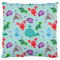 Turtle Crab Dolphin Whale Sea World Whale Water Blue Animals Large Flano Cushion Case (one Side)