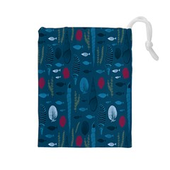 Sea World Fish Ccoral Blue Water Drawstring Pouches (large)  by Jojostore