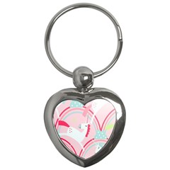 Unicorn Animals Horse Pink Rainbow Key Chains (heart)  by Jojostore