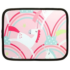 Unicorn Animals Horse Pink Rainbow Netbook Case (large) by Jojostore