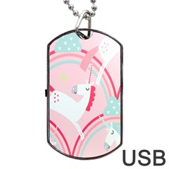Unicorn Animals Horse Pink Rainbow Dog Tag Usb Flash (two Sides)
