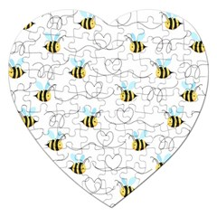 Wasp Bee Fly Yellow Black Blue Hanny Love Jigsaw Puzzle (heart)