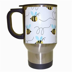 Wasp Bee Fly Yellow Black Blue Hanny Love Travel Mugs (white) by Jojostore