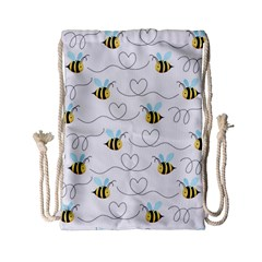 Wasp Bee Fly Yellow Black Blue Hanny Love Drawstring Bag (small)