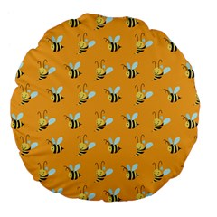 Wasp Bee Hanny Yellow Fly Animals Large 18  Premium Flano Round Cushions by Jojostore
