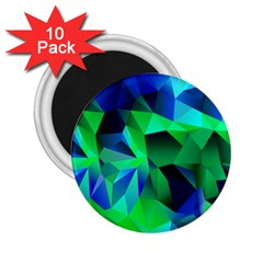 Galaxy Chevron Wave Woven Fabric Color Blu Green Triangle 2 25  Magnets (10 Pack)  by Jojostore