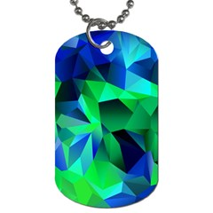 Galaxy Chevron Wave Woven Fabric Color Blu Green Triangle Dog Tag (one Side) by Jojostore