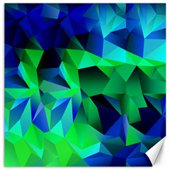 Galaxy Chevron Wave Woven Fabric Color Blu Green Triangle Canvas 12  X 12   by Jojostore