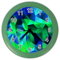 Galaxy Chevron Wave Woven Fabric Color Blu Green Triangle Color Wall Clocks by Jojostore