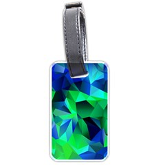 Galaxy Chevron Wave Woven Fabric Color Blu Green Triangle Luggage Tags (one Side)  by Jojostore