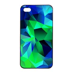 Galaxy Chevron Wave Woven Fabric Color Blu Green Triangle Apple Iphone 4/4s Seamless Case (black) by Jojostore