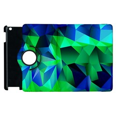 Galaxy Chevron Wave Woven Fabric Color Blu Green Triangle Apple Ipad 2 Flip 360 Case