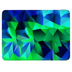 Galaxy Chevron Wave Woven Fabric Color Blu Green Triangle Samsung Galaxy Tab 7  P1000 Flip Case by Jojostore