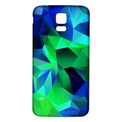 Galaxy Chevron Wave Woven Fabric Color Blu Green Triangle Samsung Galaxy S5 Back Case (white) by Jojostore