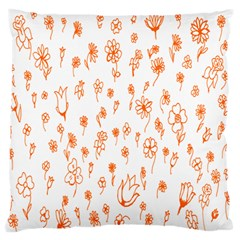 Flower Floral Tulip Orange Large Flano Cushion Case (one Side) by Jojostore