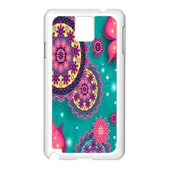 Vintage Butterfly Floral Flower Rose Star Purple Pink Green Yellow Animals Fly Samsung Galaxy Note 3 N9005 Case (white) by Jojostore