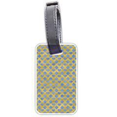 Diamond Heart Card Valentine Love Blue Yellow Gold Luggage Tags (one Side)  by Jojostore