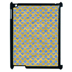 Diamond Heart Card Valentine Love Blue Yellow Gold Apple Ipad 2 Case (black)