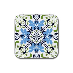 Flower Floral Jpeg Rubber Square Coaster (4 Pack)  by Jojostore
