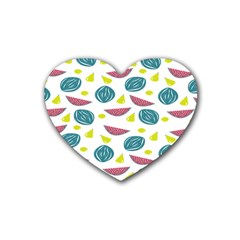 Summer Fruit Watermelon Water Guava Onions Rubber Coaster (heart)