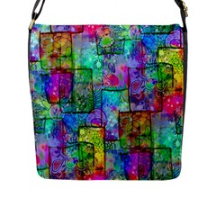 Rainbow Floral Doodle Flap Messenger Bag (l)  by KirstenStar