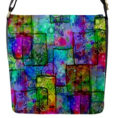 Rainbow Floral Doodle Flap Messenger Bag (s) by KirstenStar