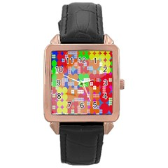 Abstract Polka Dot Pattern Rose Gold Leather Watch  by Nexatart