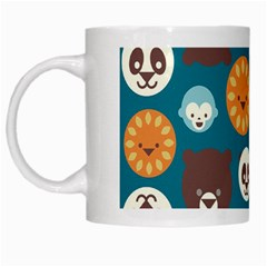 Animal Pattern White Mugs