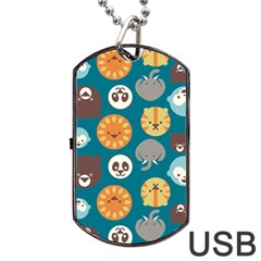 Animal Pattern Dog Tag Usb Flash (two Sides) by Nexatart