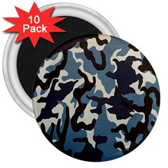 Blue Water Camouflage 3  Magnets (10 Pack)  by Nexatart