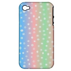 Christmas Happy Holidays Snowflakes Apple Iphone 4/4s Hardshell Case (pc+silicone) by Nexatart