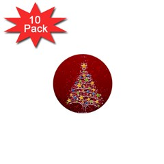 Colorful Christmas Tree 1  Mini Buttons (10 Pack)