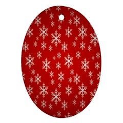 Christmas Snow Flake Pattern Oval Ornament (two Sides) by Nexatart