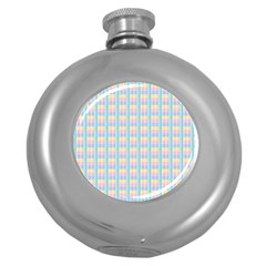 Grid Squares Texture Pattern Round Hip Flask (5 Oz) by Nexatart