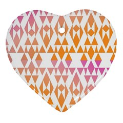 Geometric Abstract Orange Purple Pattern Heart Ornament (two Sides) by Nexatart