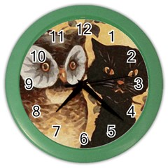 Owl And Black Cat Color Wall Clocks by Nexatart