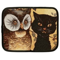 Owl And Black Cat Netbook Case (large) by Nexatart