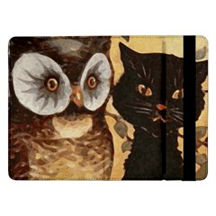 Owl And Black Cat Samsung Galaxy Tab Pro 12 2  Flip Case by Nexatart
