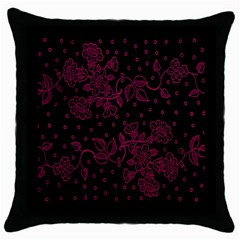 Pink Floral Pattern Background Wallpaper Throw Pillow Case (black) by Nexatart