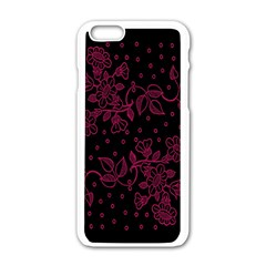 Pink Floral Pattern Background Wallpaper Apple Iphone 6/6s White Enamel Case by Nexatart